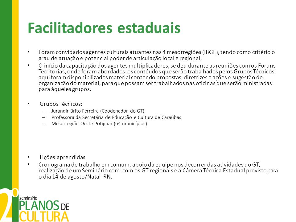 Facilitadores estaduais