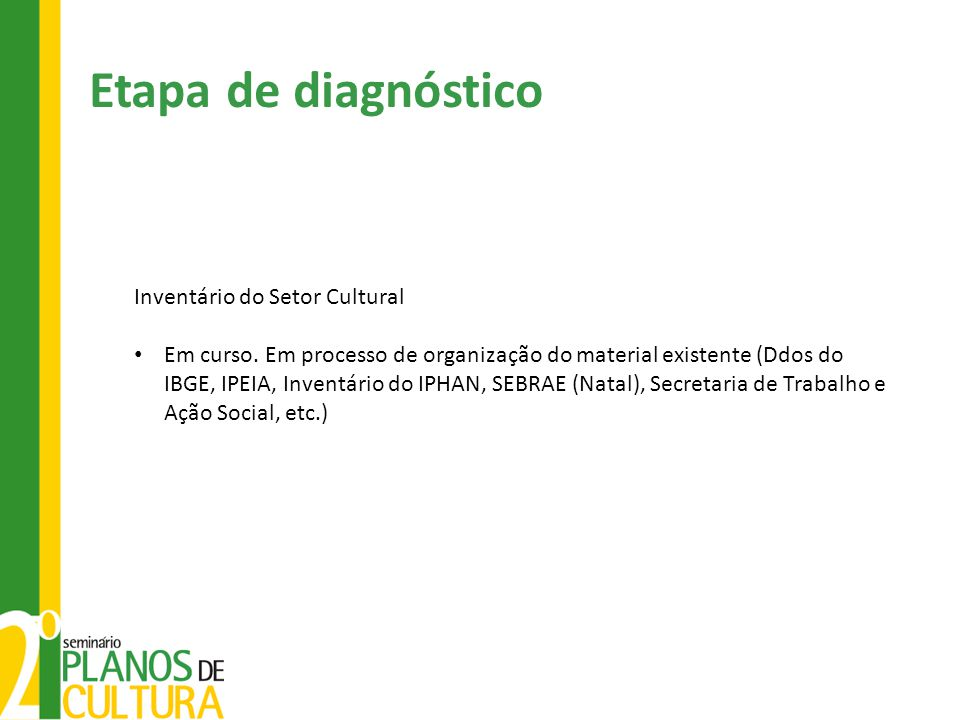 Etapa de diagnóstico Inventário do Setor Cultural