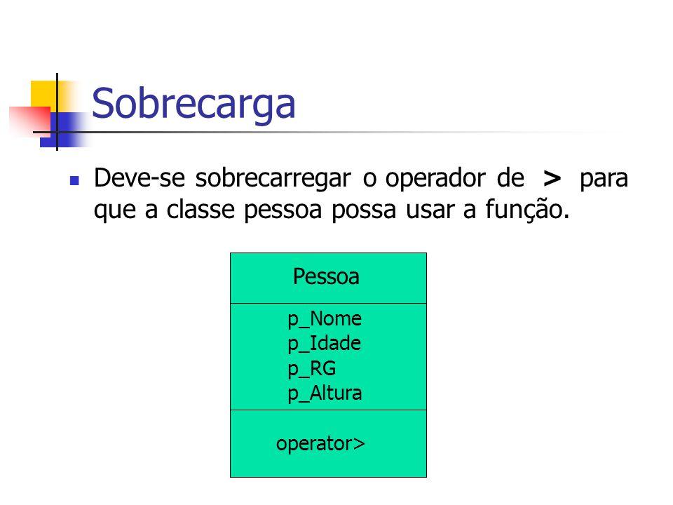 Sobrecarga Deve-se sobrecarregar o operador de > para que a classe pessoa possa usar a função. Pessoa.