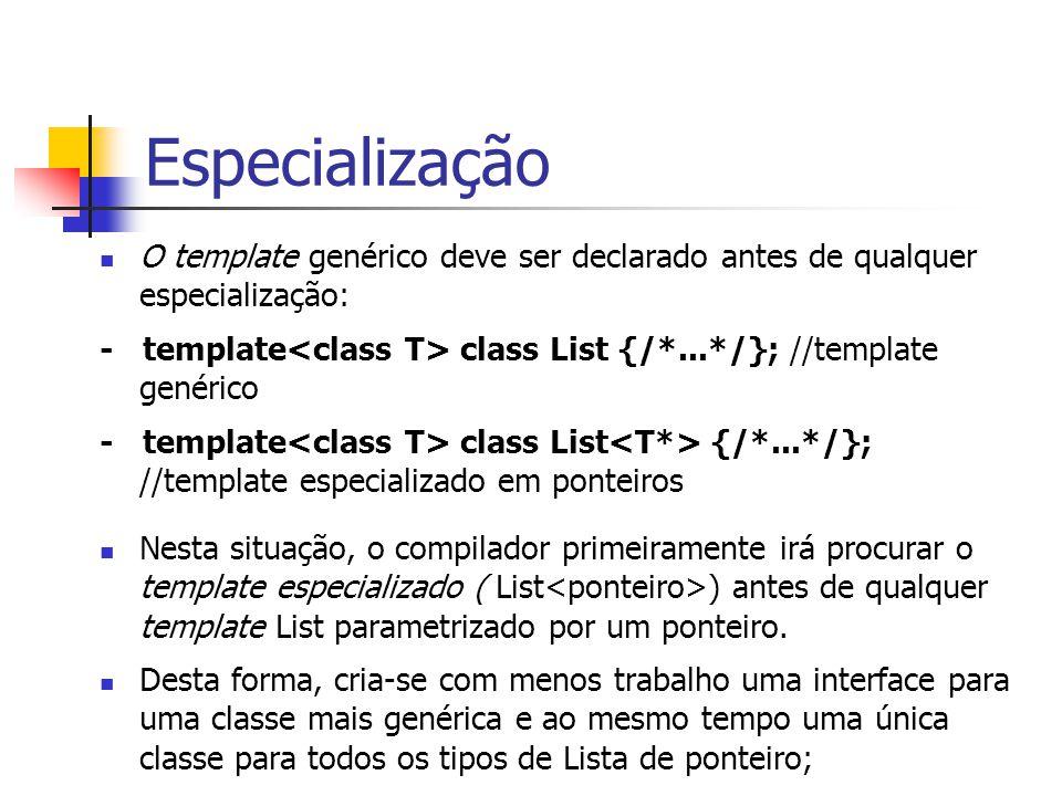 Especialização O template genérico deve ser declarado antes de qualquer especialização: