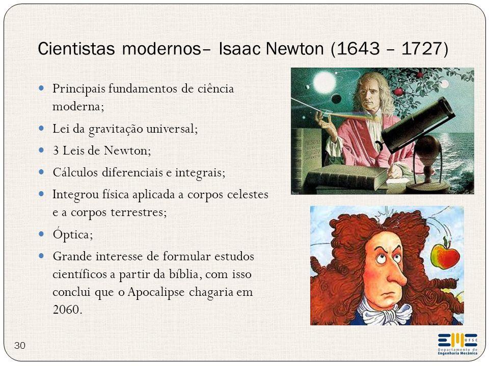 Cientistas modernos– Isaac Newton (1643 – 1727)