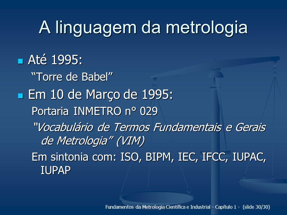 A linguagem da metrologia