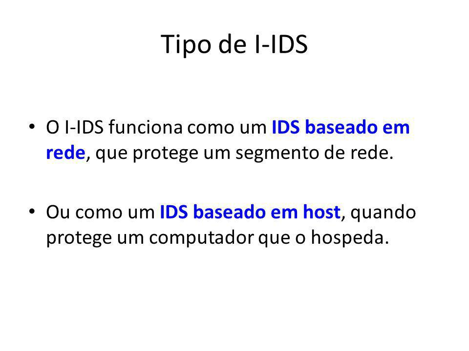 Tipo de I-IDS O I-IDS funciona como um IDS baseado em rede, que protege um segmento de rede.