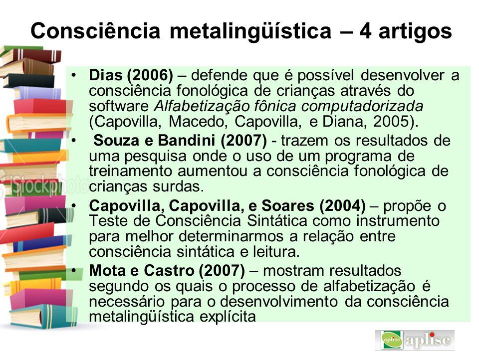 Consciência metalingüística – 4 artigos