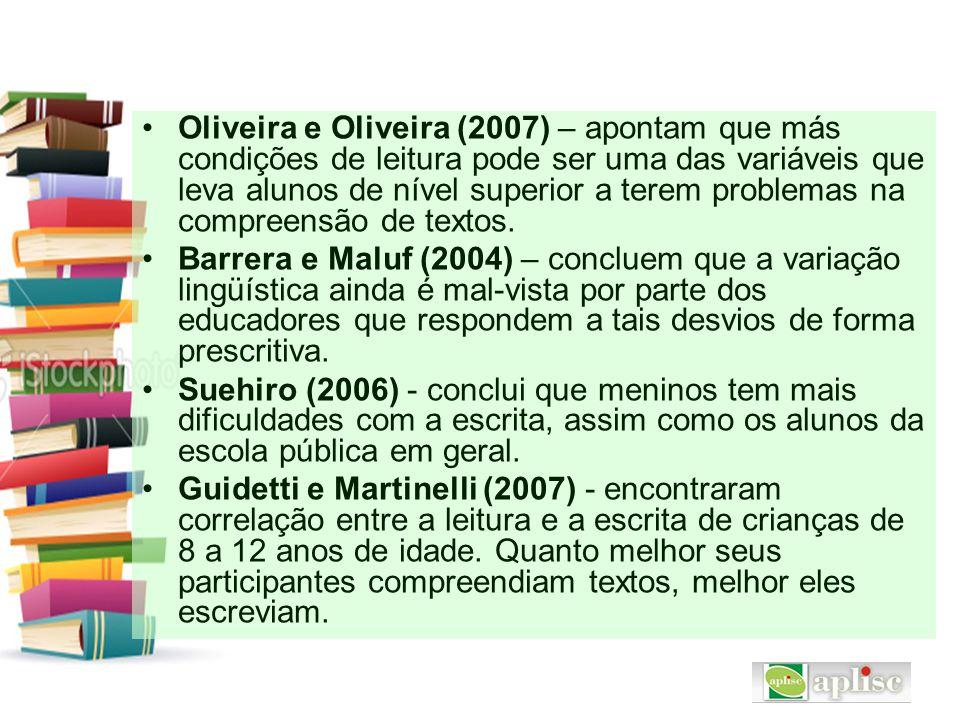 Oliveira e Oliveira (2007) – apontam que más condições de leitura pode ser uma das variáveis que leva alunos de nível superior a terem problemas na compreensão de textos.