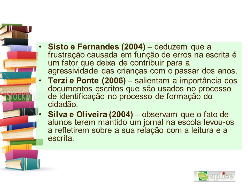 Sisto e Fernandes (2004) – deduzem que a frustração causada em função de erros na escrita é um fator que deixa de contribuir para a agressividade das crianças com o passar dos anos.