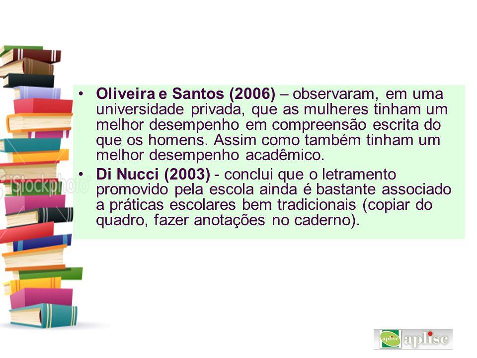 Oliveira e Santos (2006) – observaram, em uma universidade privada, que as mulheres tinham um melhor desempenho em compreensão escrita do que os homens. Assim como também tinham um melhor desempenho acadêmico.