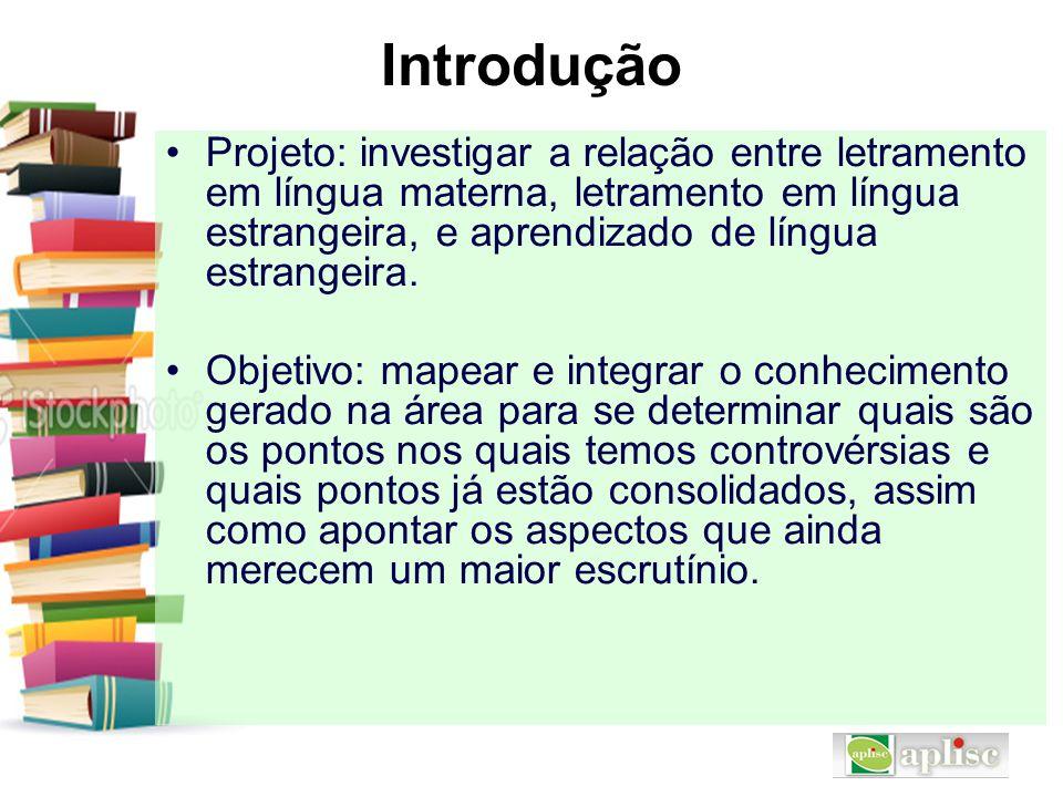 Introdução Projeto: investigar a relação entre letramento em língua materna, letramento em língua estrangeira, e aprendizado de língua estrangeira.