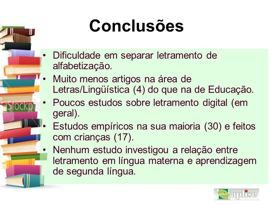 Conclusões Dificuldade em separar letramento de alfabetização.