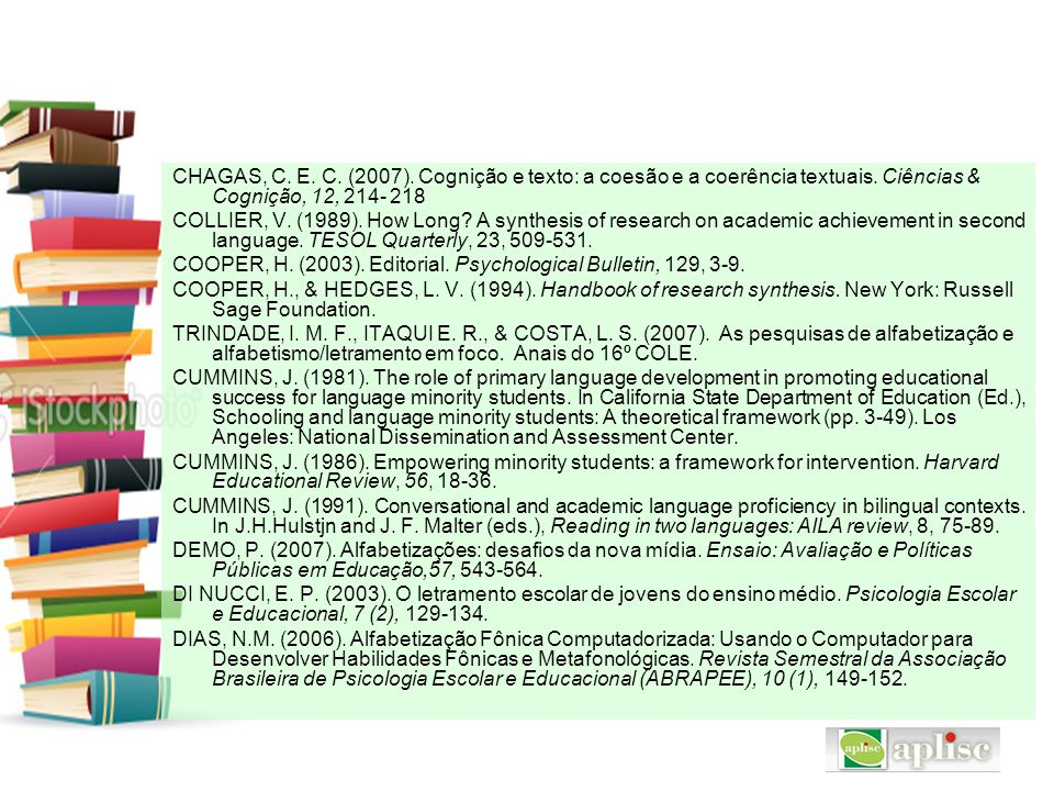 CHAGAS, C. E. C. (2007). Cognição e texto: a coesão e a coerência textuais. Ciências & Cognição, 12, 214- 218
