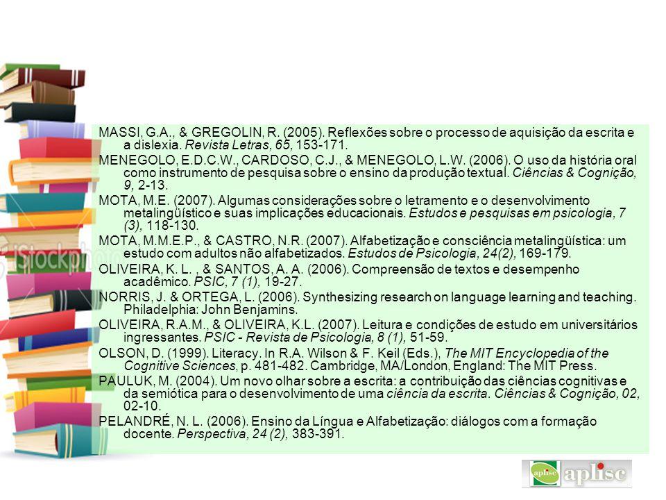 MASSI, G.A., & GREGOLIN, R. (2005). Reflexões sobre o processo de aquisição da escrita e a dislexia. Revista Letras, 65, 153-171.