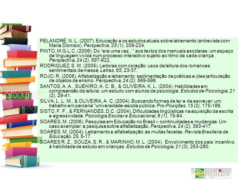 PELANDRÉ, N. L. (2007). Educação e os estudos atuais sobre letramento (entrevista com Maria Dionísio). Perspectiva, 25 (1), 209-224.