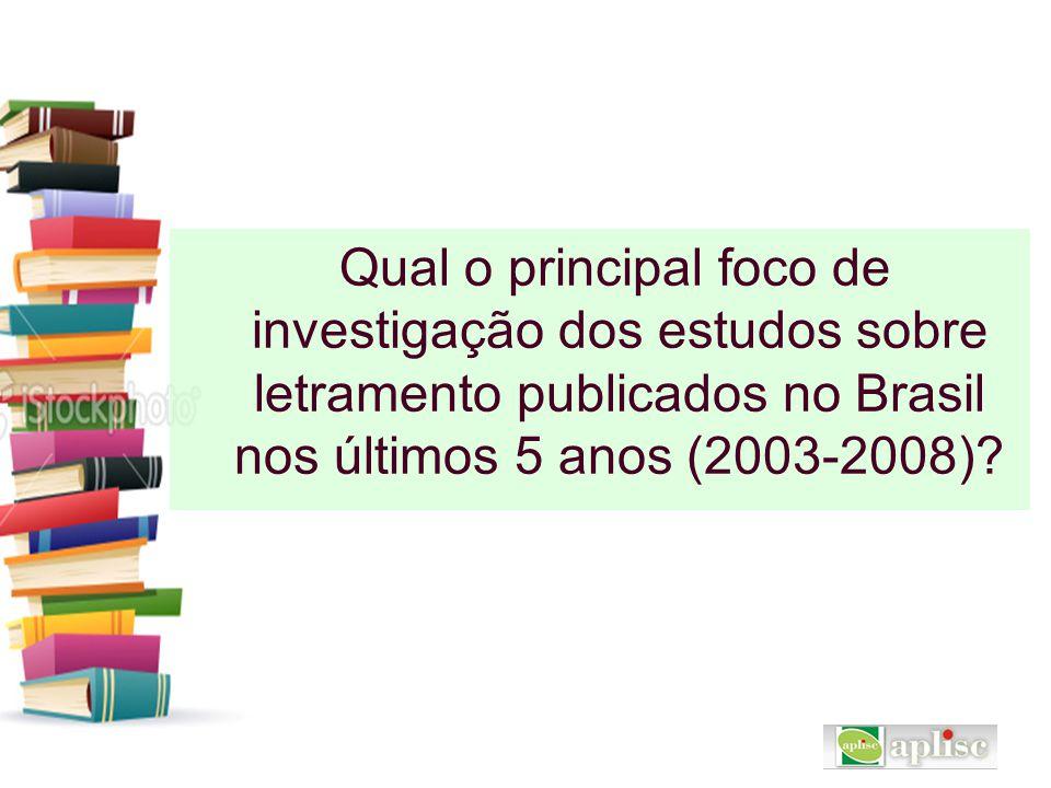 Qual o principal foco de investigação dos estudos sobre letramento publicados no Brasil nos últimos 5 anos (2003-2008)