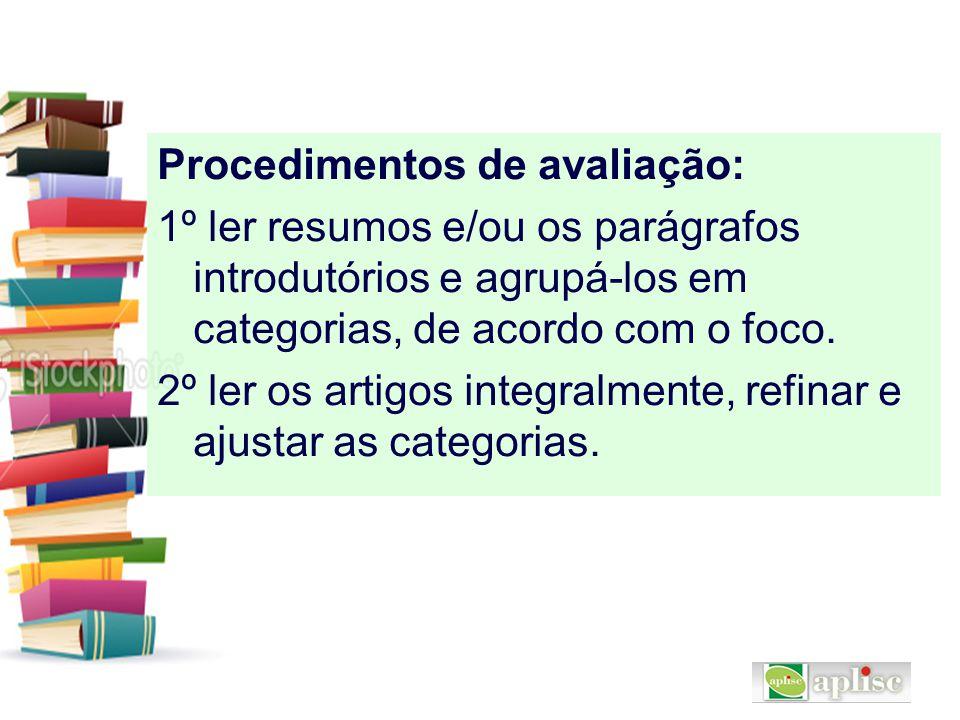 Procedimentos de avaliação:
