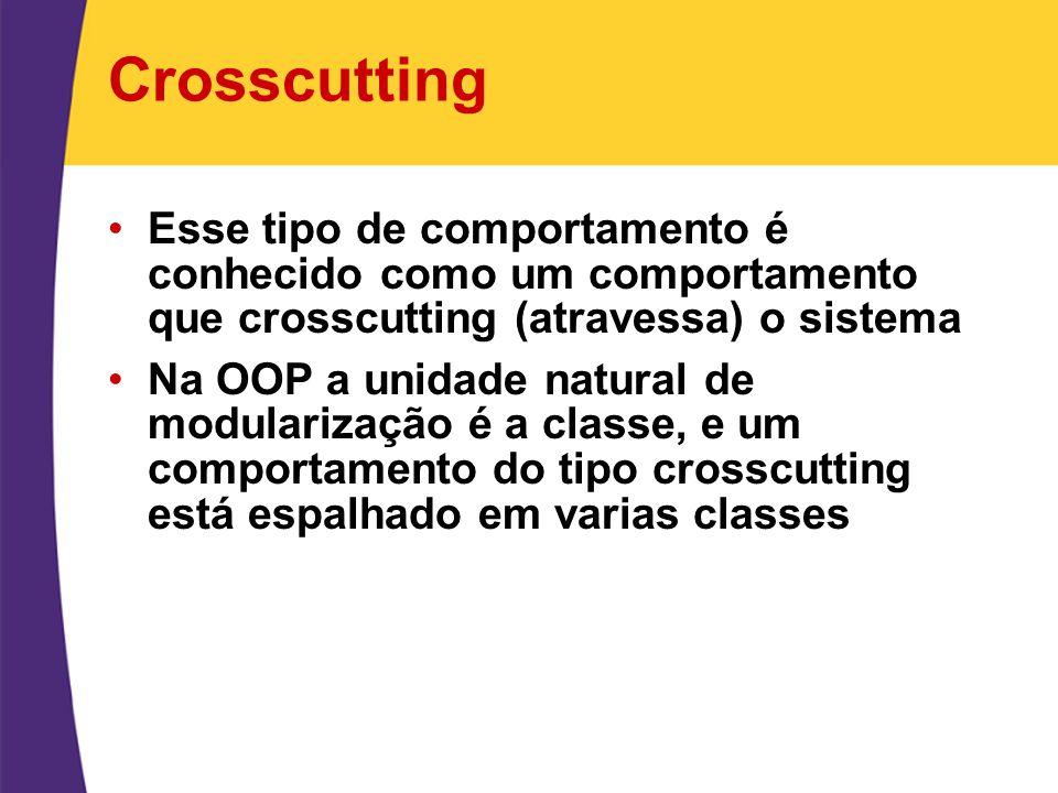 Crosscutting Esse tipo de comportamento é conhecido como um comportamento que crosscutting (atravessa) o sistema.