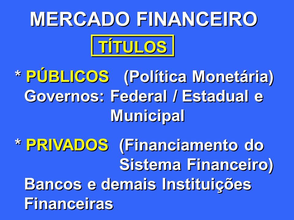 MERCADO FINANCEIRO TÍTULOS * PÚBLICOS (Política Monetária)
