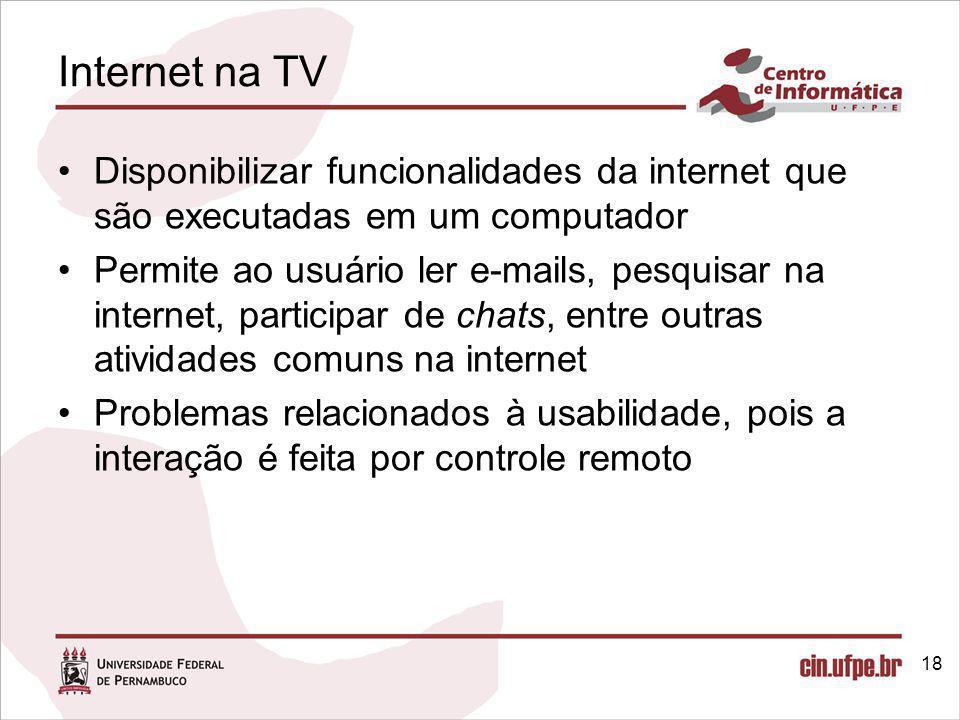 Internet na TV Disponibilizar funcionalidades da internet que são executadas em um computador.