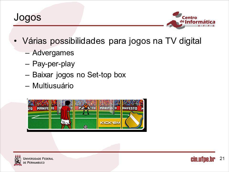 Jogos Várias possibilidades para jogos na TV digital Advergames