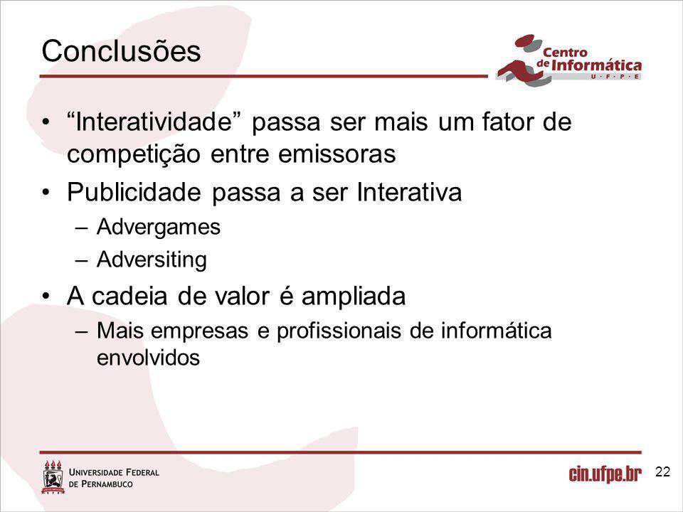 Conclusões Interatividade passa ser mais um fator de competição entre emissoras. Publicidade passa a ser Interativa.