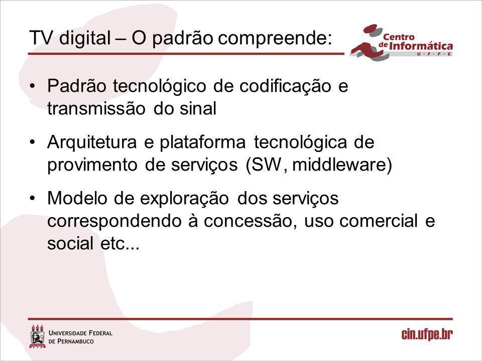 TV digital – O padrão compreende: