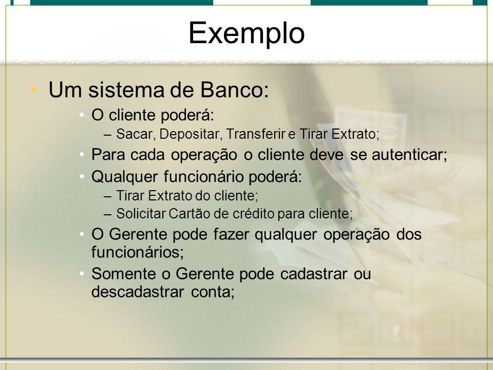 Exemplo Um sistema de Banco: O cliente poderá: