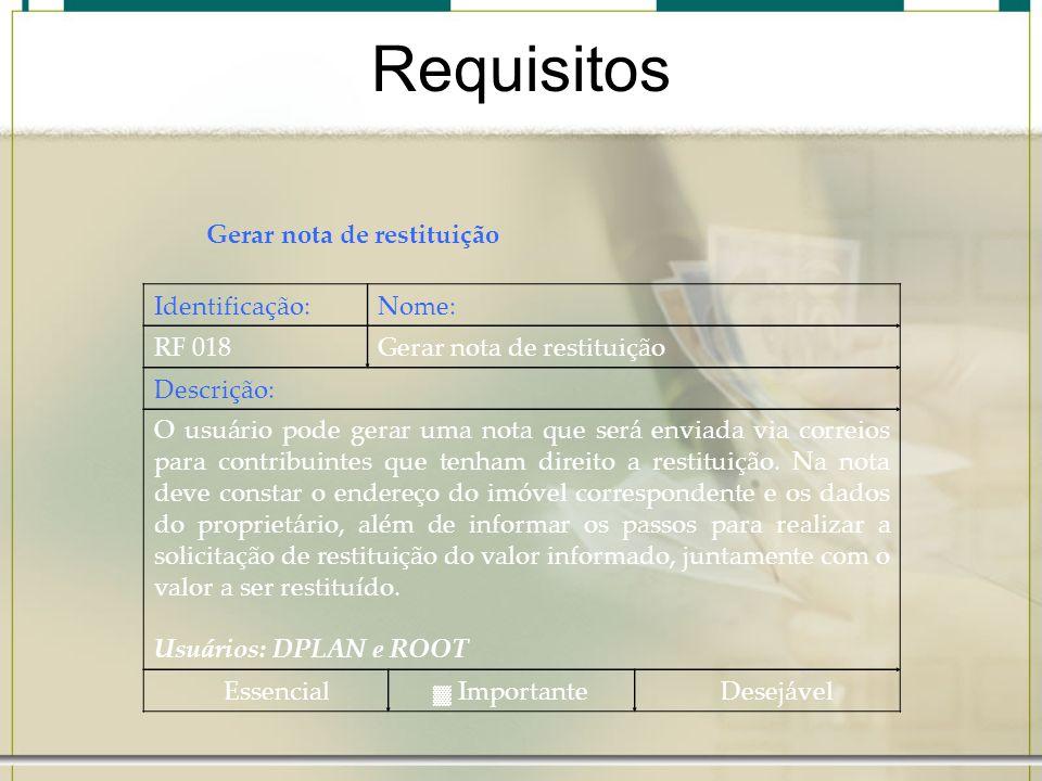Requisitos Gerar nota de restituição Identificação: Nome: RF 018