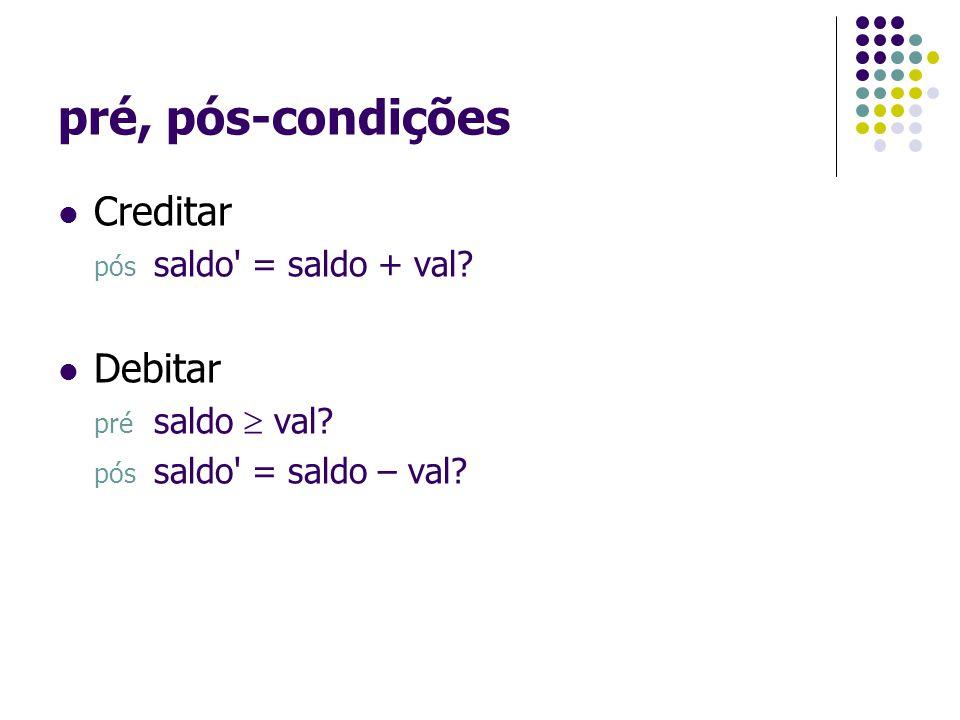 pré, pós-condições Creditar Debitar pós saldo = saldo + val
