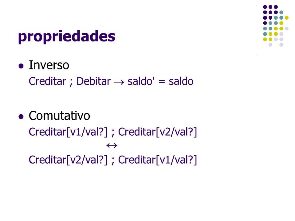 propriedades Inverso Comutativo Creditar ; Debitar  saldo = saldo