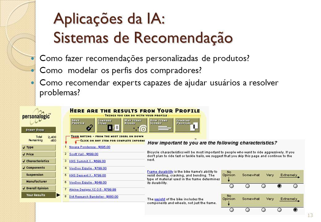 Aplicações da IA: Sistemas de Recomendação