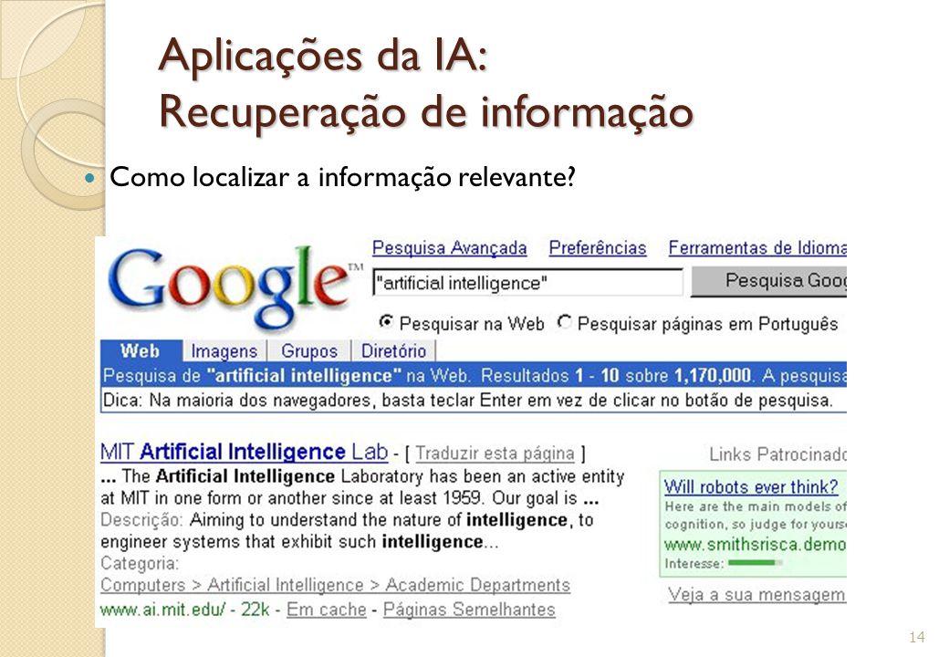 Aplicações da IA: Recuperação de informação