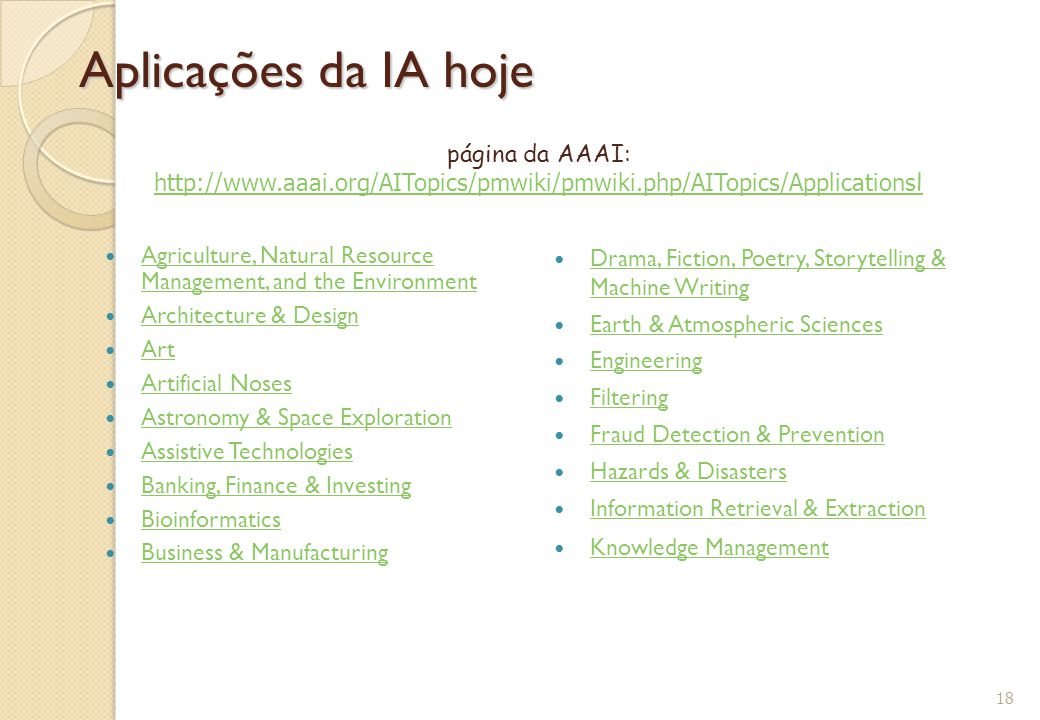 Aplicações da IA hoje página da AAAI: http://www.aaai.org/AITopics/pmwiki/pmwiki.php/AITopics/Applicationsl.