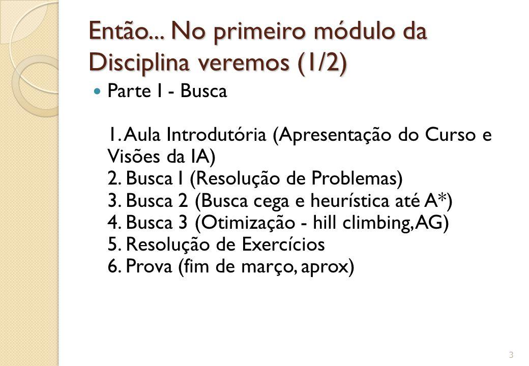 Então... No primeiro módulo da Disciplina veremos (1/2)