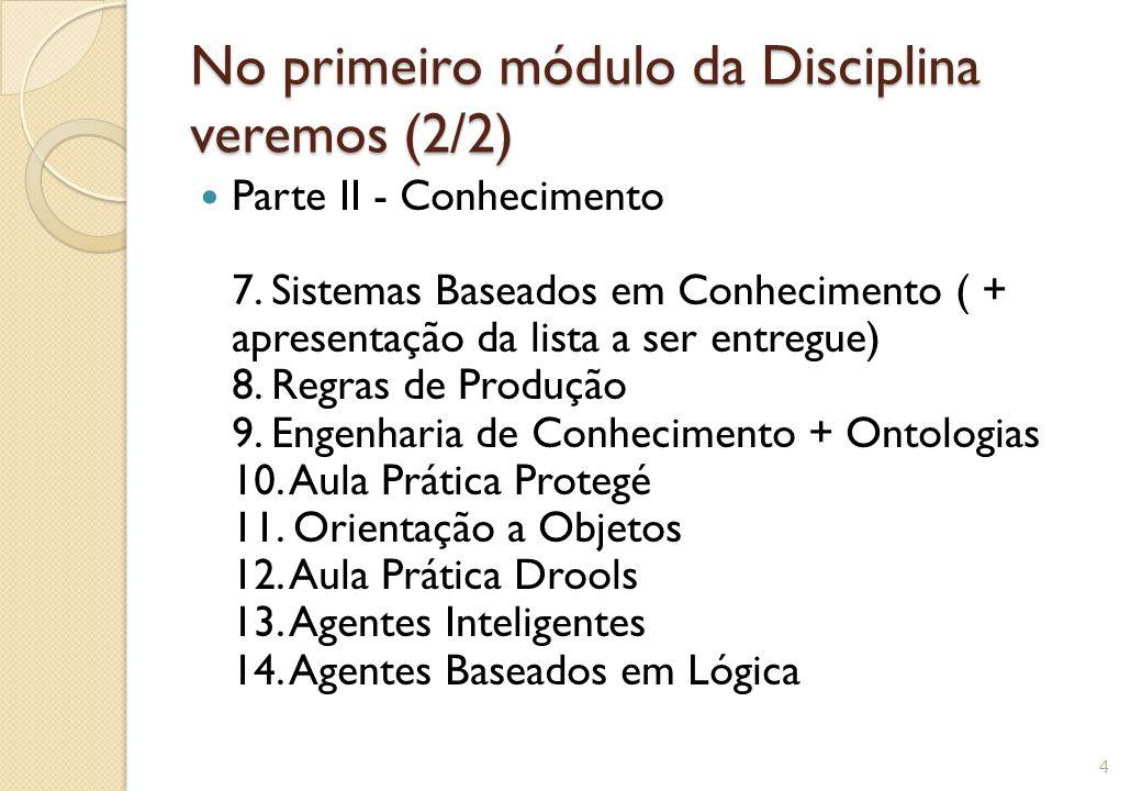 No primeiro módulo da Disciplina veremos (2/2)
