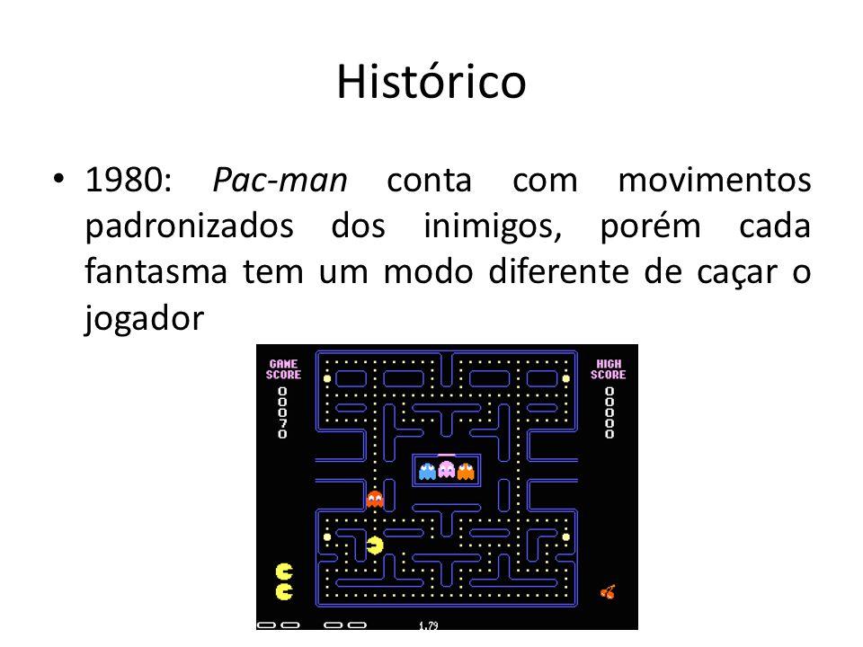 Histórico 1980: Pac-man conta com movimentos padronizados dos inimigos, porém cada fantasma tem um modo diferente de caçar o jogador.