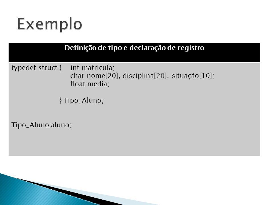 Definição de tipo e declaração de registro