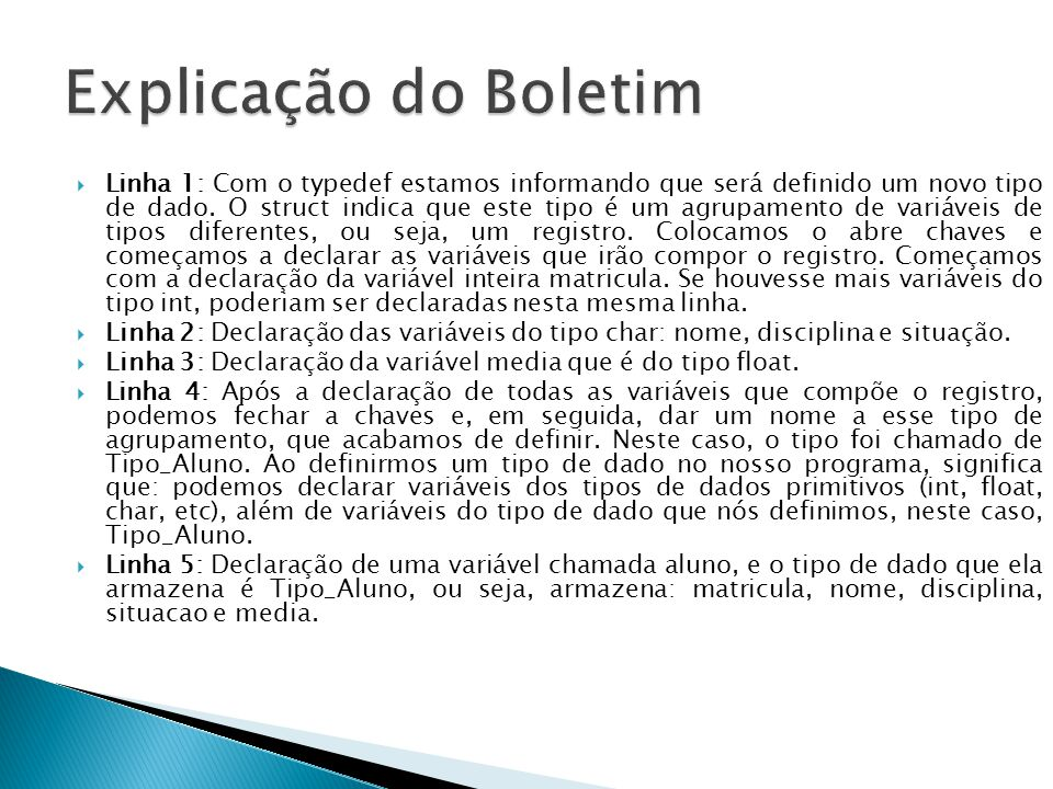 Explicação do Boletim