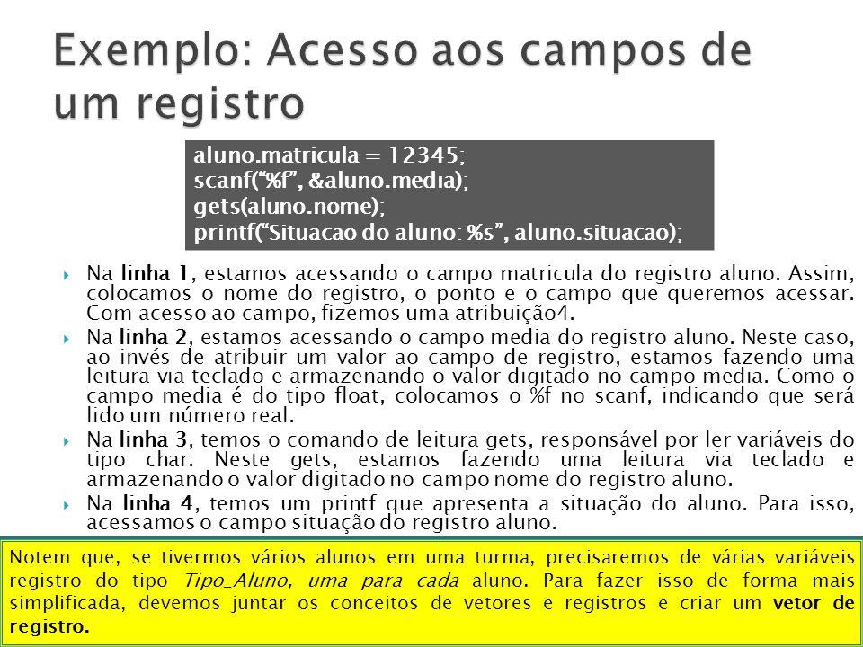 Exemplo: Acesso aos campos de um registro