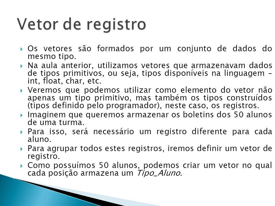 Vetor de registro Os vetores são formados por um conjunto de dados do mesmo tipo.