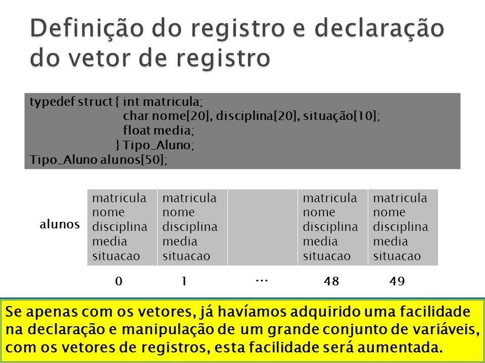 Definição do registro e declaração do vetor de registro