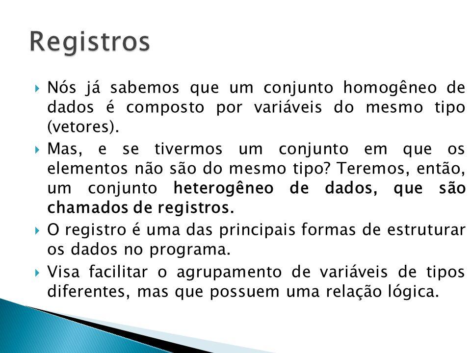 Registros Nós já sabemos que um conjunto homogêneo de dados é composto por variáveis do mesmo tipo (vetores).