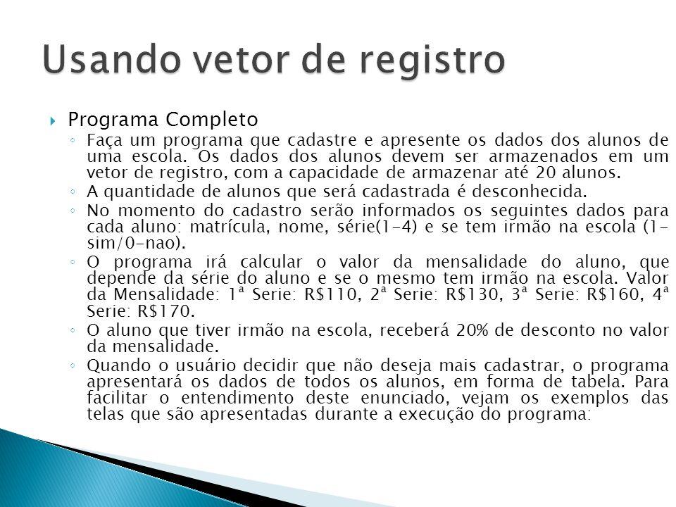 Usando vetor de registro