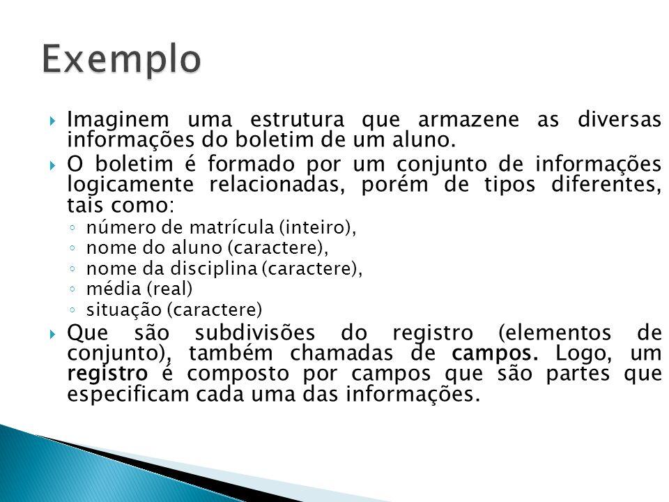 Exemplo Imaginem uma estrutura que armazene as diversas informações do boletim de um aluno.