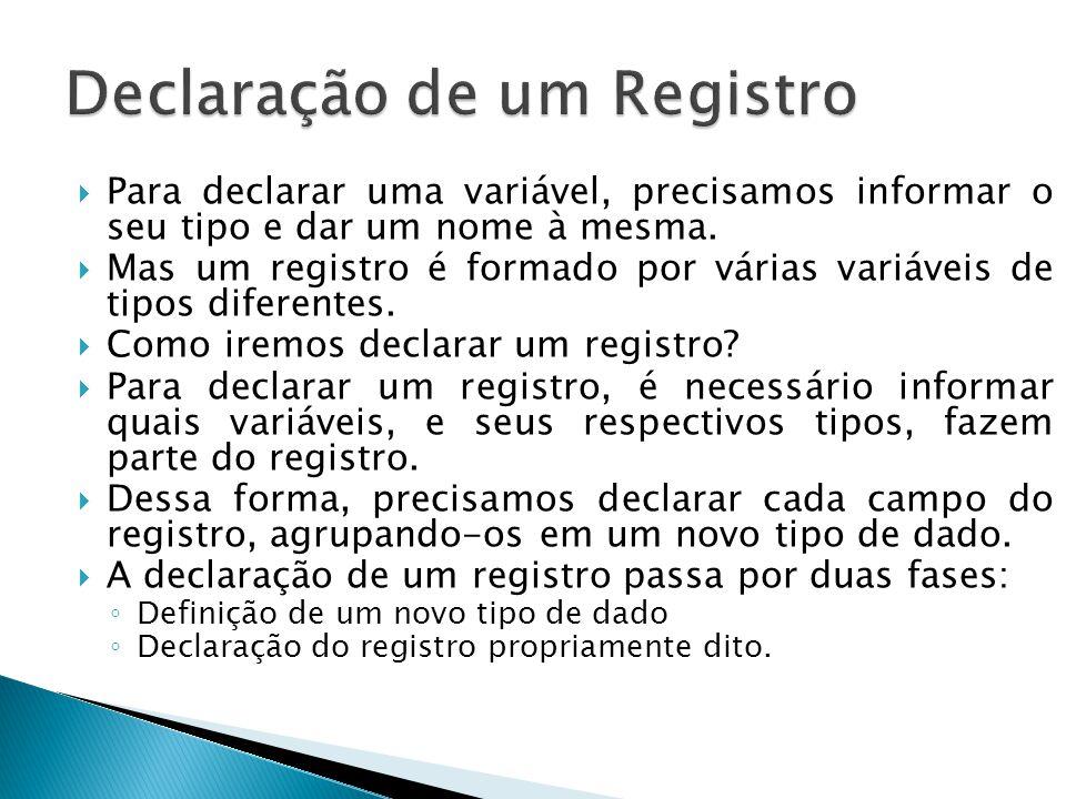 Declaração de um Registro