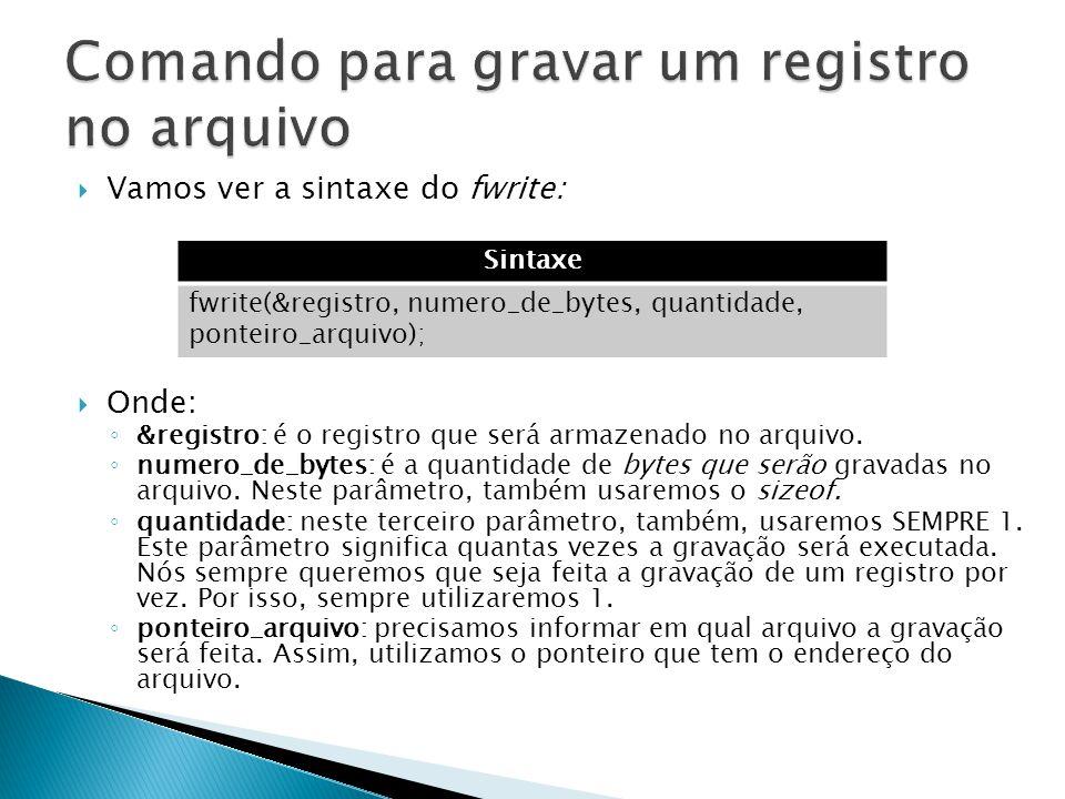 Comando para gravar um registro no arquivo