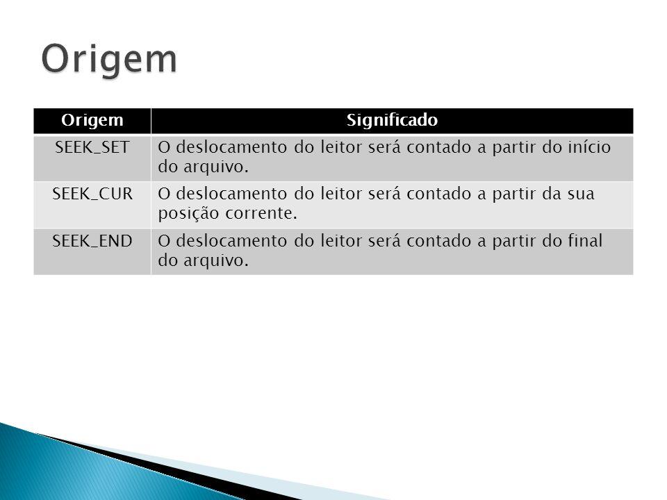 Origem Origem Significado SEEK_SET