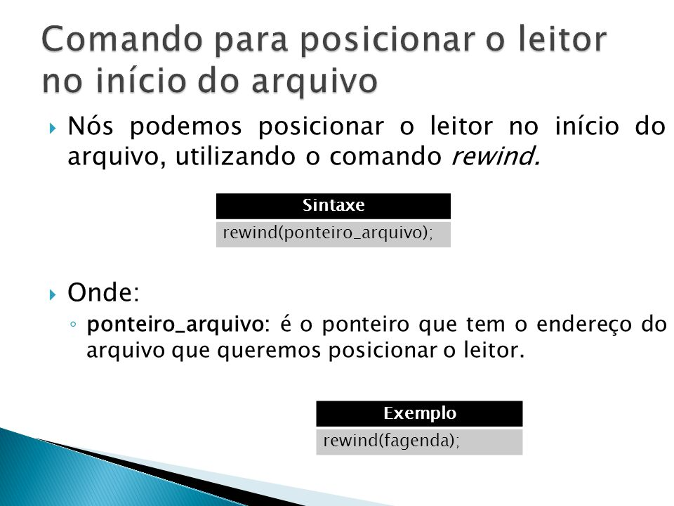 Comando para posicionar o leitor no início do arquivo