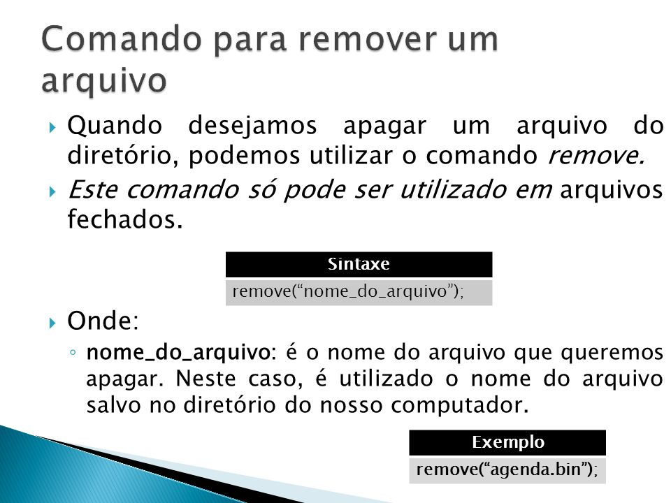 Comando para remover um arquivo