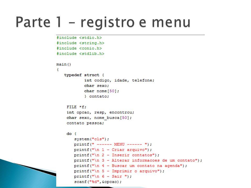 Parte 1 – registro e menu