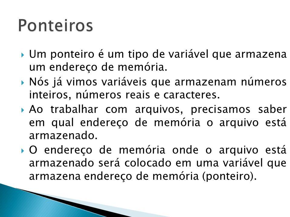 Ponteiros Um ponteiro é um tipo de variável que armazena um endereço de memória.