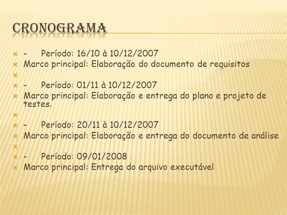 cronograma - Período: 16/10 à 10/12/2007